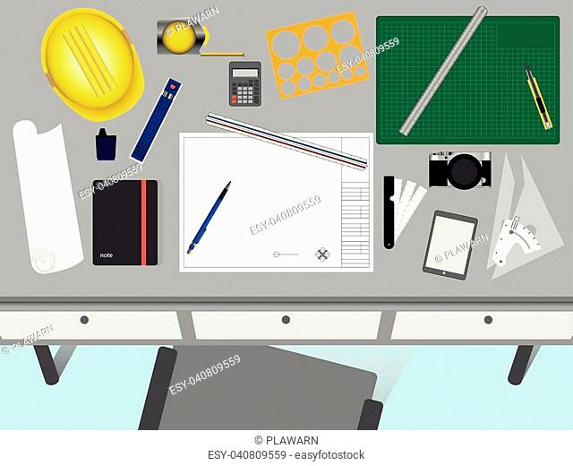Top view of architect and engineer desk. Working space with blank paper for text. Background design