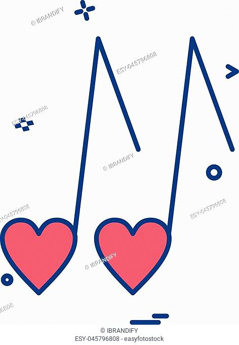 heart love music icon vector design