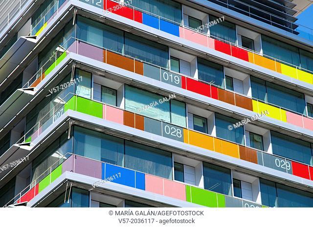 Detail of the facade of INE building. Paseo de la Castellana, Madrid, Spain