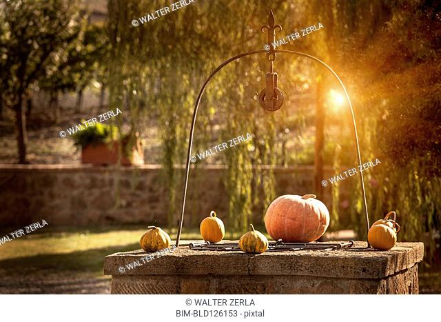 Pumpkins on stone well