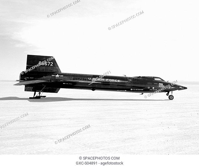 The X-15 ship 3 56-6672 is seen here on the lakebed at the Edwards Air Force Base, Edwards, California. Ship 3 made 65 flights during the program