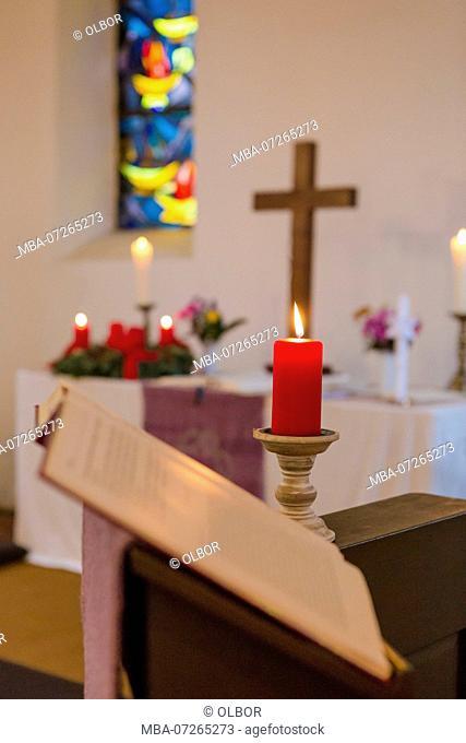 Church, interior, altar, candle, worship