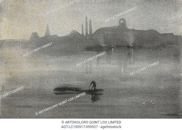 Nocturne: The Thames at Battersea, James Abbott McNeill Whistler (American, 1834-1903), 1878, lithotint, 6-11/16 x 10-1/4 in