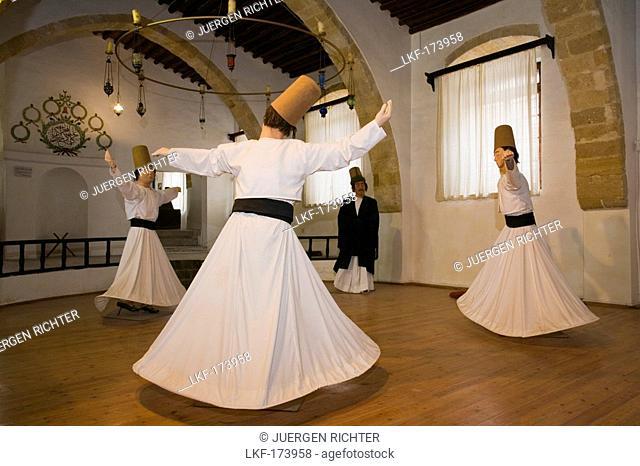 Mevlevi Tekke, former dervish monastary, figures of dancing dervishes, whirling dervishes, museum, Lefkosia, Nicosia, Cyprus