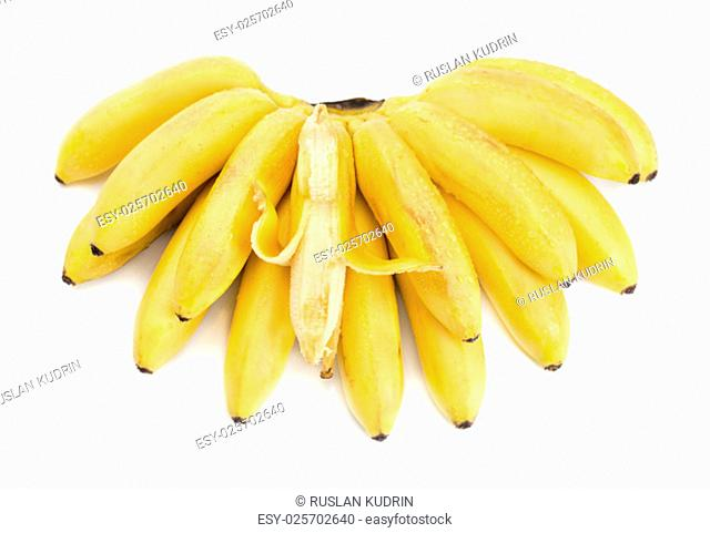 Bunch of bananas with open one isolated on white