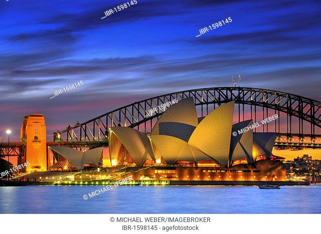 Sydney Opera House and Harbour Bridge at night, Sydney, New South Wales, Australia