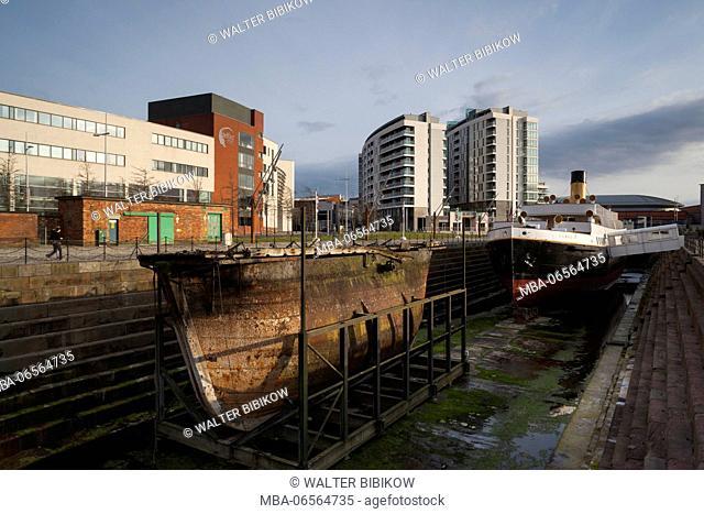 UK, Northern Ireland, Belfast, Belfast Docklands, Titanic Belfast Museum, and SS Normandie, ship tender