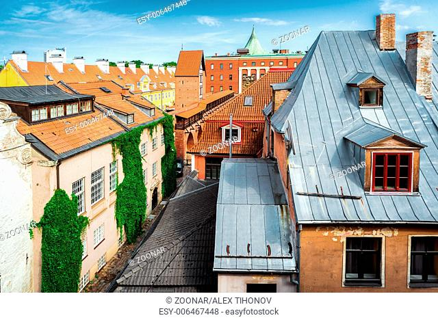 Riga Old Town rooftops. Latvia