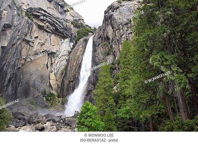 View of waterfall, Yosemite National Park, California, USA
