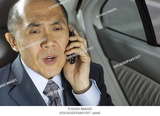 Businessman talking on cell phone in backseat