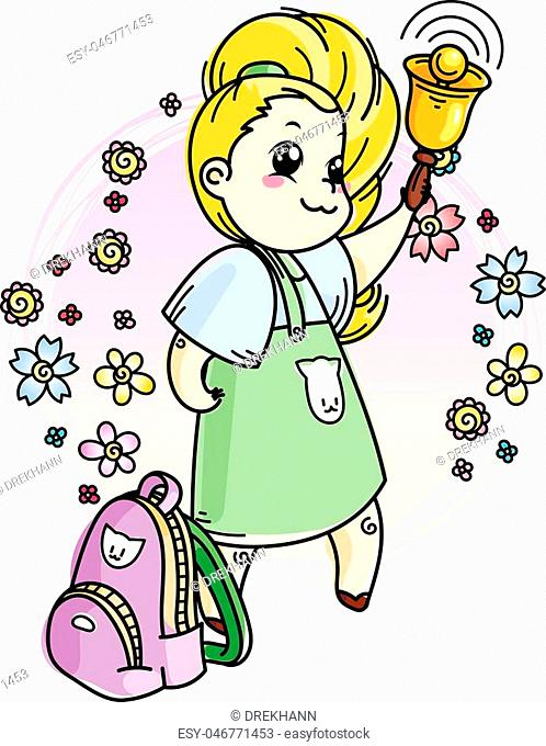 Cute girl is ringing the School Bell. Vector illustration for books, prints, posters, cards