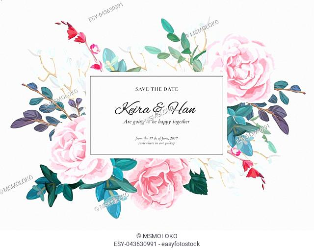 Botanical wedding invitation design with pale roses, succulents, eucaliptus flowers and green leaves on white backround. Floral bouquet decoration