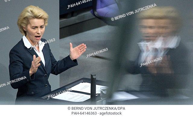 German Minister of Defence Ursula von der Leyen speaks during the debate on the deployment of the German Bundeswehr against the terror militia IS during a...