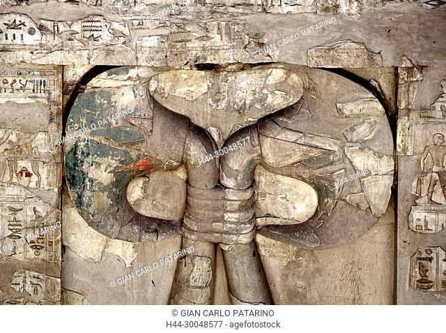 Luxor, Egypt, tomb of Montuemhat (TT34) in the Nobles Tombs of el-Asasif: view of a sculpture in form of a Nile lily