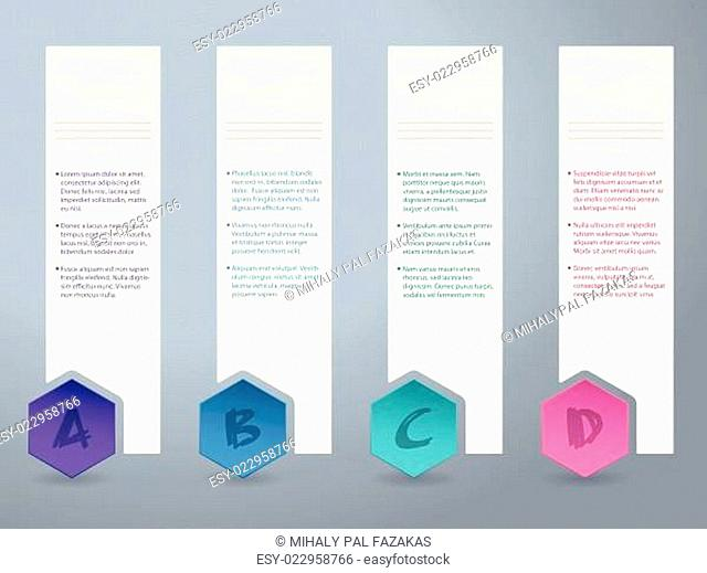 White label infograhic with small color hexagons