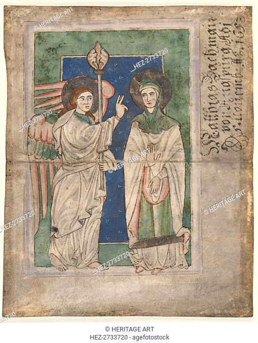 Leaf from a Psalter(?): Annunciation, early 1200s. Creator: Unknown