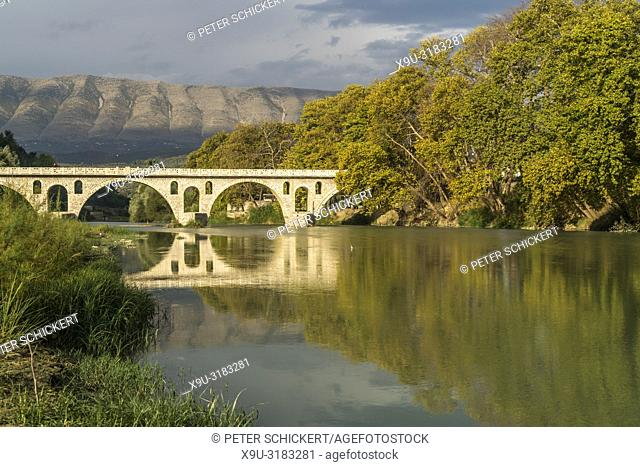 Ottoman Gorica Bridge over the Osum river, Berat, Albania, Europe