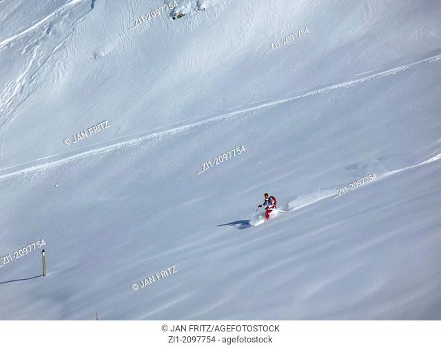 lonely deepsnow skier at Flaine, France