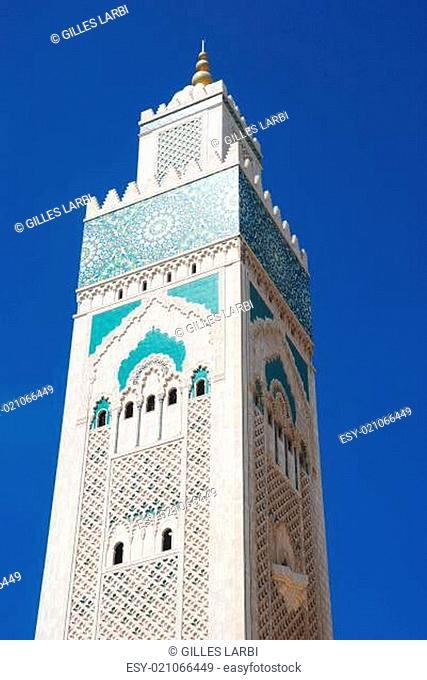 The minaret at Hassan II Mosque, Casablanca, Morocco