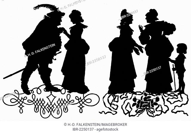 John Falstaff and his companions, silhouettes from the drama by Shakespeare, The Merry Wives of Windsor, pattern for an opera by Otto Nicolai