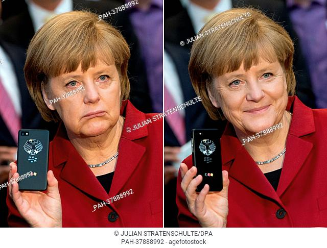 A composite-image shows German Chancellor Angela Merkel presenting a tap-proof mobile phone of Blackberry at a booth of Secusmart during the opening round tour...