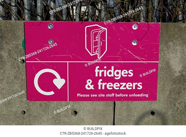 Skip for old fridges and freezers, Peterborough recycling centre, Cambridgeshire, UK