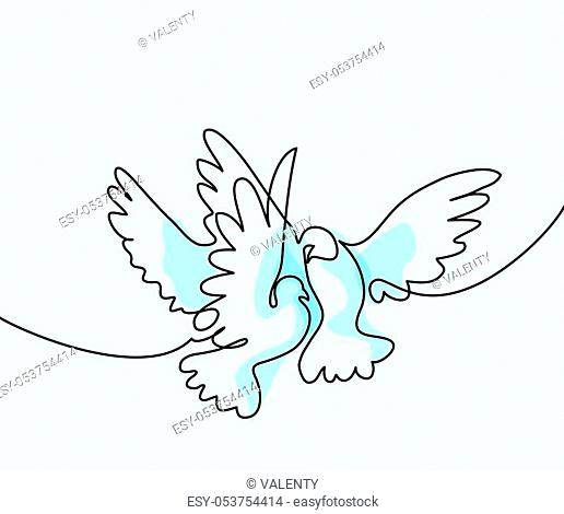 Continuous one line drawing. Flying two pigeons logo. Soft colors blue background vector illustration. Concept for logo, card, banner, poster, flyer