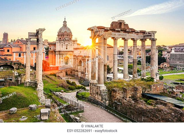 Famous Roman Forum in Rome, Italy during sunrise