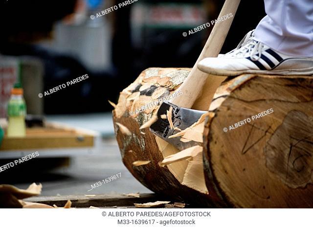 Wood cutters or aizkolaris in Basque language  Exhibition in Azkoitia  Basque rural sports Herri Kirolak in basque language are rooted in traditional lifestyles