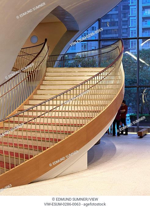 Staircase on ground floor. National Taichung Theater, Taichung, China. Architect: Toyo Ito , 2016