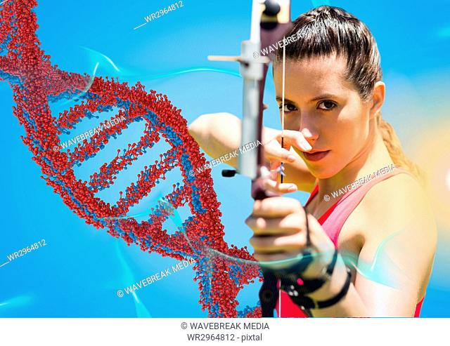 Archer woman with red and blue dna chain against blue background and blue and orange lights
