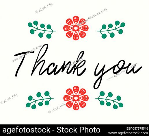 Thank you - handwritten phrase in folk style. in folk style for posters, t-shirts and wall art. Vector design