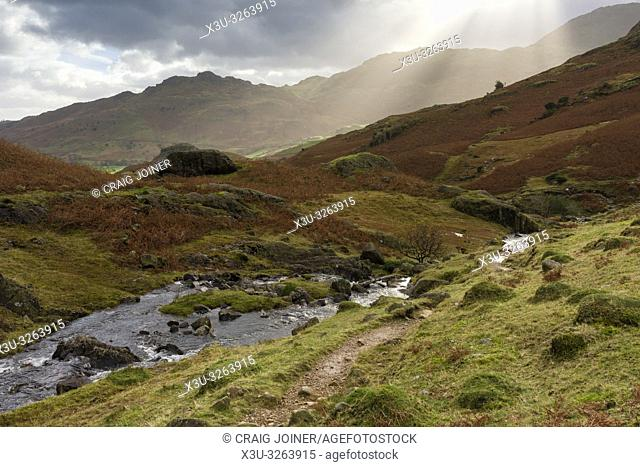 Bleamoss Beck flowing towards Little Langdale in the Lake District National Park, Cumbria, England