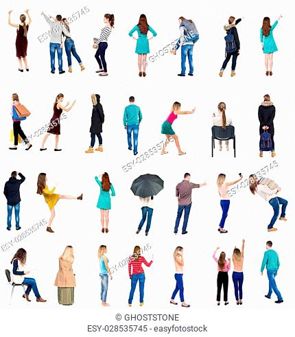 """Collection """""""" Back view people """""""". Rear view people set. backside view of person. Isolated over white background"""