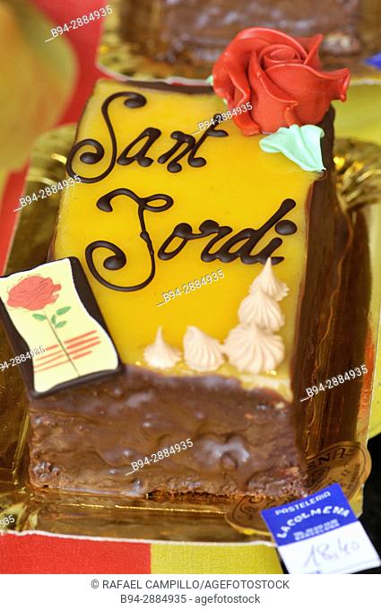 Sant Jordi (April 23rd) feast special cake, Barcelona. Catalonia, Spain