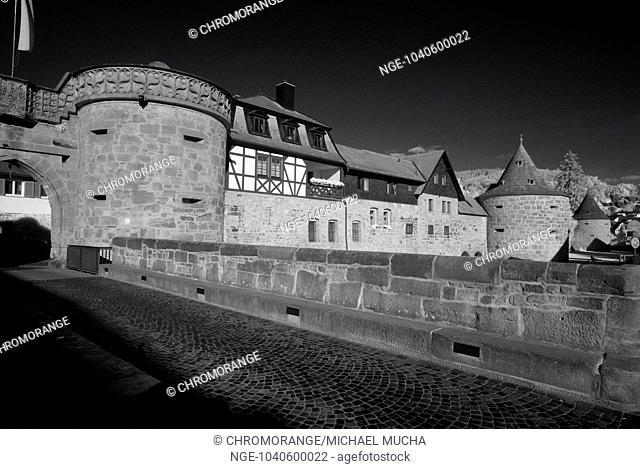 city fortification and Jerusalem Gate, Buedingen, Wetterau, Hesse, Germany, Europe