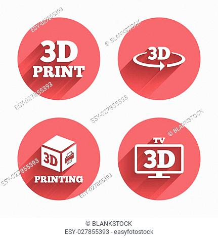 3d technology icons. Printer, rotation arrow sign symbols. Print cube. Pink circles flat buttons with shadow. Vector