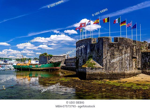 France, Brittany, Finistère Department, Concarneau, Ville Close, Tour du Major with fishing port