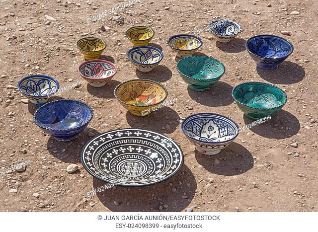 Display of Potter seller on the ground, Ksar Ait Ben Haddou, Morocco