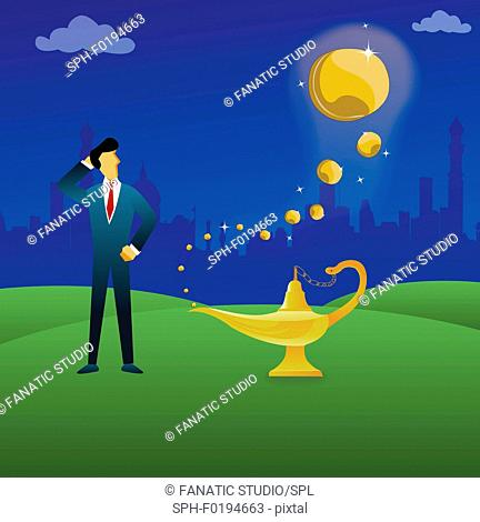 Businessman standing next to a magical lamp, illustration