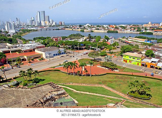 Overview of Cartagena de Indias from the castle of San Felipe de Barajas, Colombia
