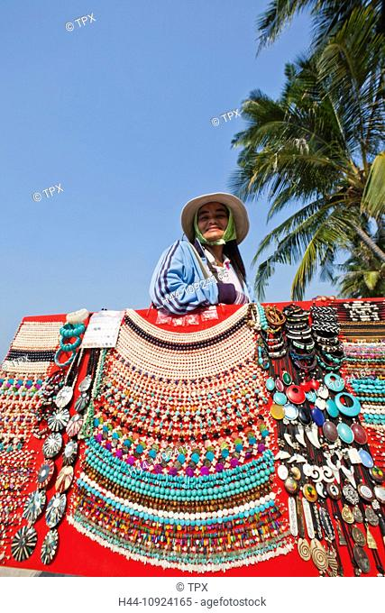 Asia, Thailand, Trat Province, Koh Chang, Ko Chang, Vendor, Jewellery, Woman, Asian Woman, Thai Woman, Thai, Woman Working, Beach, Beaches, Island, Islands