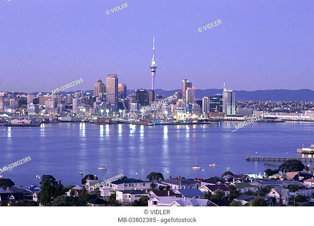 New Zealand, Auckland, skyline, Sky tower, harbor, twilight  Island, North island, cityscape, city, skyscrapers,  Television tower, 328 m, destination, tourism