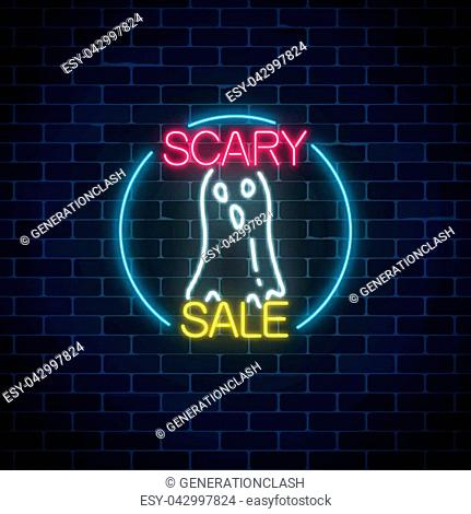 Glowing neon sign of halloween sale banner design with ghost silhouette on dark brick wall background. Bright halloween night scary discount sign neon style