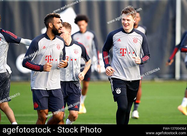 v.re: goalwart Alexander NUEBEL (FC Bayern Munich), Eric Maxim Choupo-Moting (FC Bayern Munich), final training before the CL game FC Salzburg-FC Bayern Munich...