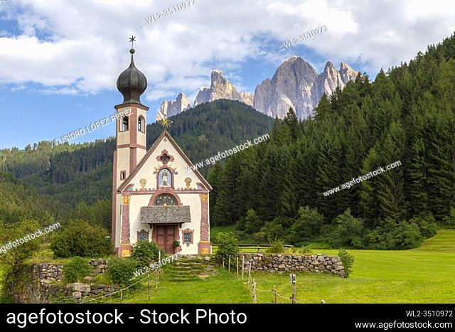 The mountainous area of Dolomites holds spectacular places like the Church of St Johann (also known as San Giovanni) in the Funes Valley
