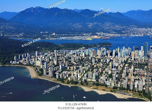 Aerial View Of English Bay And Downtown In Summer;Vancouver British Columbia Canada