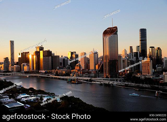 Aerial view of Brisbane Central Business District with Brisbane River, Queensland, Australia