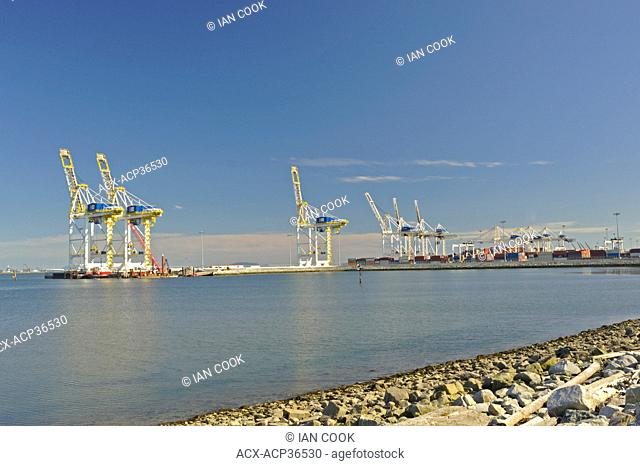 cranes for loading containers onto ships, Roberts Bank Coal Port, South Delta, British Columbia, Canada