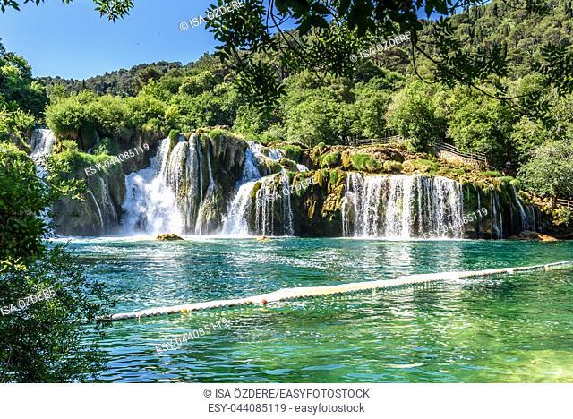 View of waterfall Skradinski Buk in Krka National Park ,one of the Croatian national parks in Sibenik,Croatia